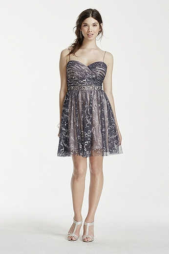 Spaghetti Strap Glitter Tulle Beaded Waist Dress 699D