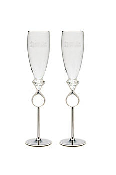 Personalized Diamond Ring Toasting Flutes 7008