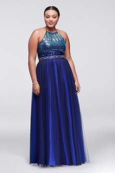Long Ballgown Halter Prom Dress - Masquerade