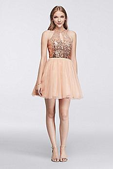 Short Halter Dress with Sequin Keyhole Bodice 7031174