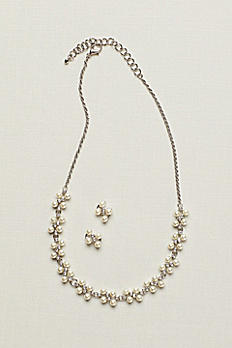 Pearl and Crystal Earring and Necklace Set 70386938