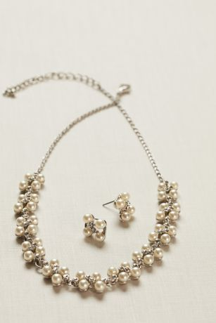 Pearl And Crystal Earring And Necklace Set David S Bridal