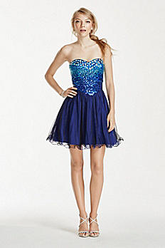 Short Strapless Jewel Embellished Sweetheart Dress 703976