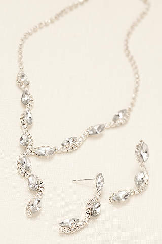 Scalloped Marquise Necklace And Earring Set