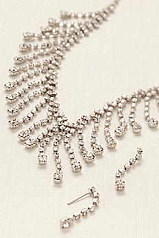 Rhinestone Drop Statement Earring and Necklace Set 71926