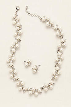 Pearl Rhinestone Vine Necklace and Earring Set