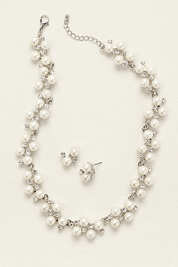 Pearl Rhinestone Vine Necklace and Earring Set 72187N