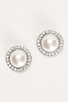 Pearl and Pave Button Earrings 72195238
