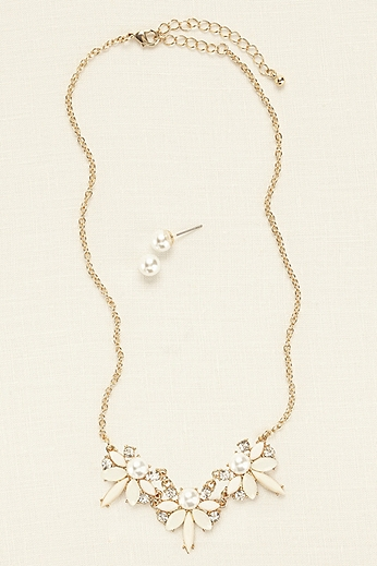 Mini Pearl Statement Necklace and Earring Set 72619N