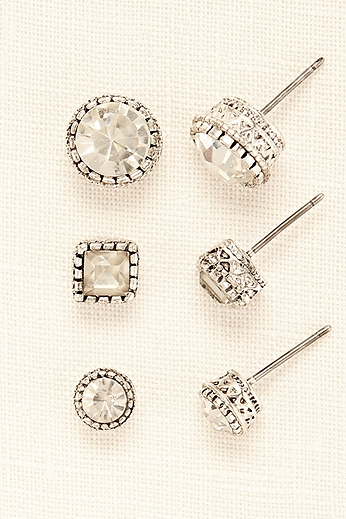 Trio of Multi-Shaped Crystal Studs 72814124