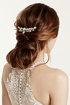 Bridal Comb with Scroll Detail, Pearls and Crystal 7358