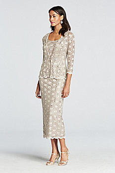 3/4 Sleeve All Over Lace Jacket Dress 7458