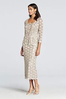 Tea Length Sheath 3/4 Sleeves Mother and Special Guest Dress - RM Richards