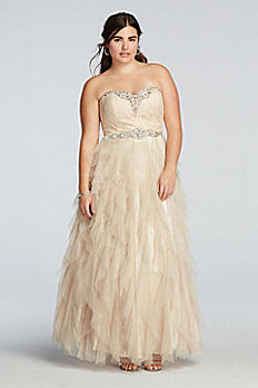 Crystal Beaded Prom Dress with Ruffled Skirt 7690002W