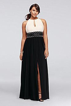 Long Halter Dress with Keyhole and Beaded Waist 7758W