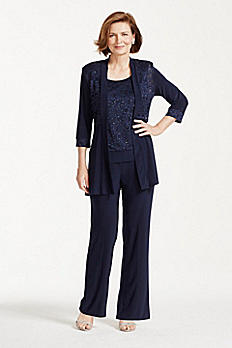 Mock Two Piece Lace and Jersey Pant Suit 7772