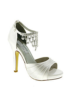 Satin High Heel Sandals with Crystal Ankle Chain 779
