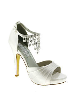 Liz Rene White Sandals (Satin High Heel Sandals with Crystal Ankle Chain)