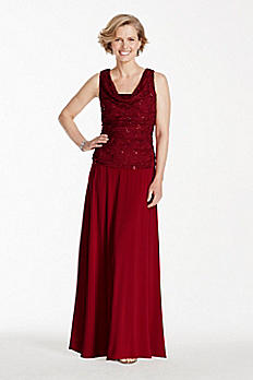 Sleeveless Glitter Lace Dress with Cowl Neckline 7859