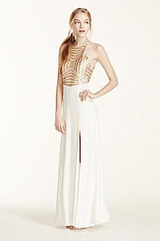 Sequin High Neck Halter Prom Dress with Side Slit 8020157D