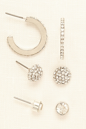 Trio Set of Pave Studs and Hoop Earrings 80420124