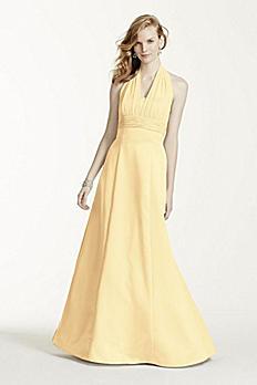Satin Empire Waist Ball Gown with Halter 81441