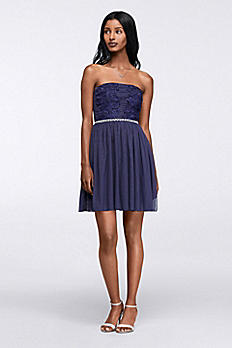 Lace Applique Short Strapless Homecoming Dress 8145MP5B