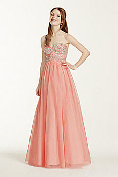 Strapless Hand Beaded Bodice Glitter Tulle Gown 8145NR5C