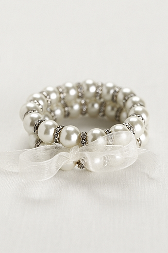 Ribbon Tied Pearl and Crystal Bead Bracelets 823893738R