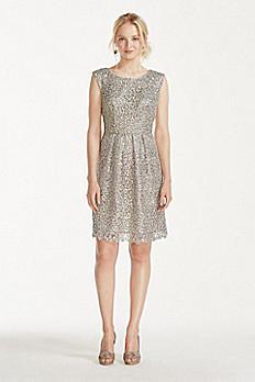 Short Cap Sleeve Lurex Lace Dress 82708