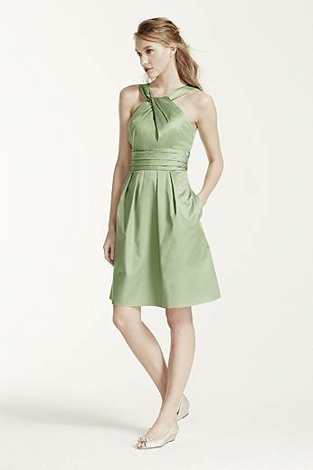 Short Cotton Dress with Y-Neck and Skirt Pleating 83690