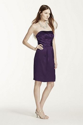 Short Charmeuse Dress with Ruched Waist and Pocket 83707