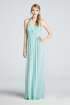 Beaded Halter Mesh Prom Dress with Ruched Detail 8420GK2B