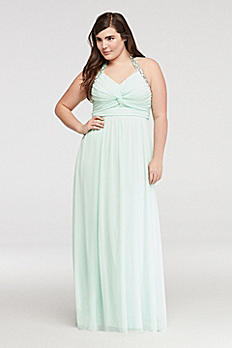 Beaded Halter Prom Dress with Ruched Detail 8420GK2W