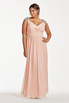 Rhinestone Beaded Cap Sleeve Floor Length Dress 8420NS6W
