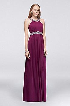 Pleated Matte Jersey Dress with Beading 8420TA3B