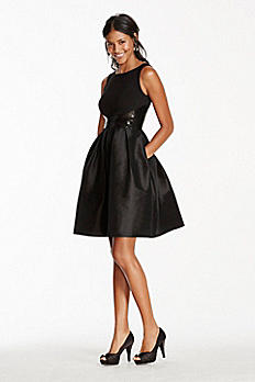 Tank Fit and Flare Taffeta Dress with Sequin Waist 8462