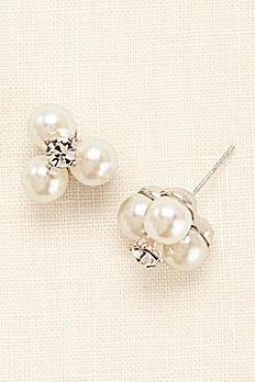Three Pearl and Crystal Stud Earrings 85553124R