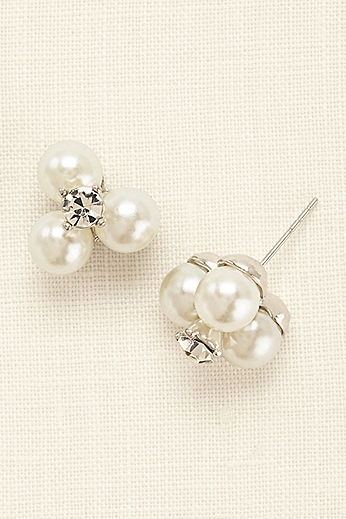 Three Pearl and Crystal Stud Earrings 85553124R