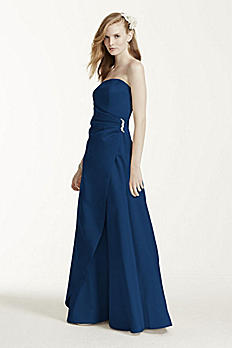 Satin Gown with Side Drape & Brooch 8567