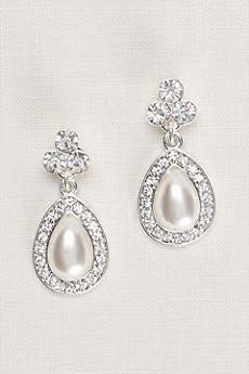 Crystal Trio and Pear Pearl Earrings