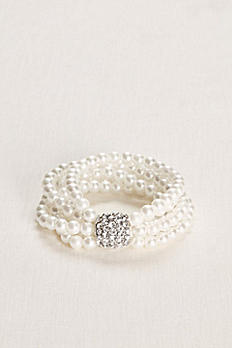 Multiple Strand Pearl and Crystal Bracelet 858744824
