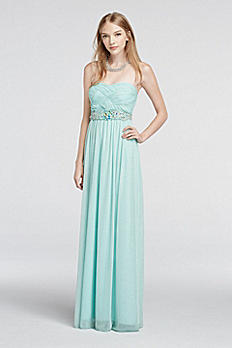 Strapless Glitter Mesh Basket Detail Prom Dress 8625QM5D