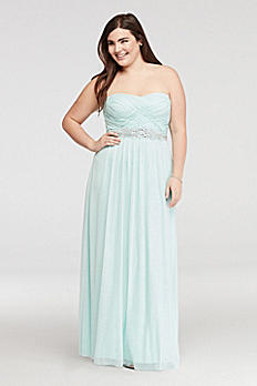 Strapless Glitter Prom Dress with Basket  Detail 8625QM5W