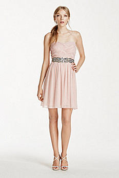 Crystal Beaded Waist Short Glitter Chiffon Dress 8625ZE6B