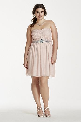 Crystal Beaded Waist Short Glitter Chiffon Dress 8625ZE6BW