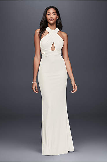 Long, ivory stretch-jersey sheath with crisscrossed bodice