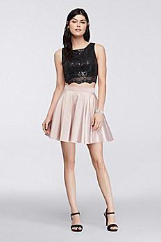 Crop Top and Short Skirt Homecoming Set 8660PC4B