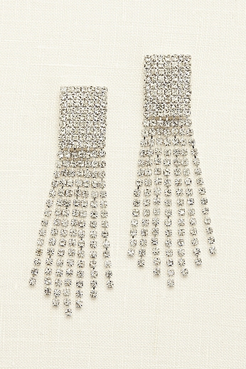 Seven Row Crystal Tassel Earrings 86695E002