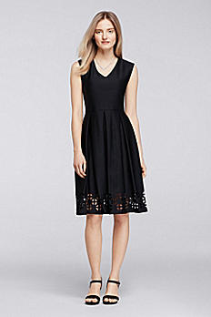 Cap Sleeve Knee-Length Dress with Laser-Cut Trim 87897